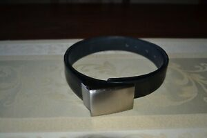 Ben Sherman Men's Black Leather Belt with Matt Chrome buckle Brand New