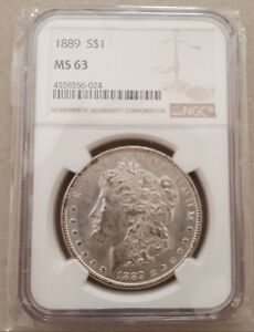 1889 US Morgan  Silver $1 Dollar Coin grated  NGC MS63 Genuine Uncirculated