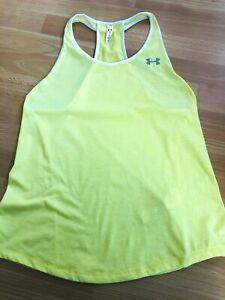 Under Armour Heat Gear Women's Yellow Sports Running Training Vest Top, Size M!
