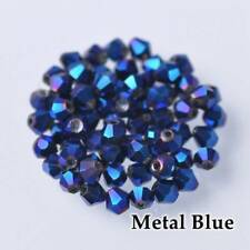 New 200pcs 3mm Bicone Faceted Crystal Glass Loose Spacer Beads Blue Plated