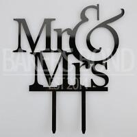 Mr & Mrs Writing Acrylic Wedding Day Cake Topper Silhouette