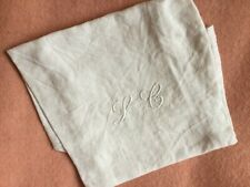 Antique French Linen Torchon Linen Dish Hand Tea Towel Metis Monogram Damask