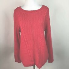 Juicy Couture Womens Cable Knit Coral Rabbit Hair Blend Sweater Size L AR23
