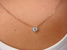 "!GORGEOUS ""DIAMONDS BY THE YARD"" 0.38 CT ROSE AND WHITE GOLD ONE BEZEL NECKLACE"