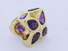 Bd083 Authentic Genuine 9ct Yellow Gold Natural Purple Amethyst Blossom Bead