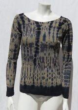 BARBARA LESSER USA Navy Green Tie Dye 100% Cotton Knit L/S T Shirt Top size S