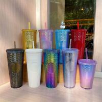 Starbucks 24oz Tumbler Blue Gold Bling Purple Oil Slick Diamond Studded Red Cup