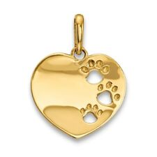 14k Childrens Heart with Pawprints Pendant New Charm Yellow Gold