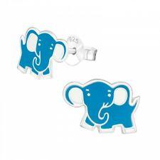 925 Sterling Silver Blue Elephant Stud Earrings Girls Kids