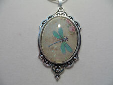 "VICTORIAN DRAGONFLY  GLASS CAMEO NECKLACE 20"" CHAIN"