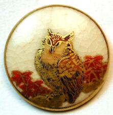 "Vintage Satsuma Button Hand Painted Qwl Design 1 & 1/16""  Pretty!"