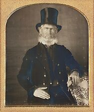 Weathered Character White Hair + Beard With Top Hat 1/6 Plate Daguerreotype F114