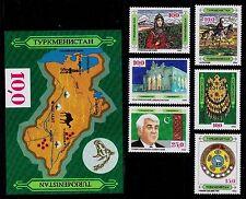TURKMENISTAN  SCOTT# 1, 3, 4, 5, 6, 7, 9 COSTUME, NECKLACE, FLAG -6 STAMPS 1 S/S