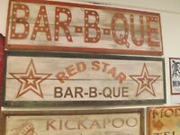 Vintage Red Star Barbecue BBQ Advertising Store Restaurant Sign GAS OIL SODA