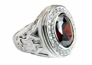 Men's Bishop/Apostle Clergy Ring (RNZ0488 Silver/Red)
