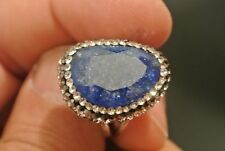 Turkish Ottoman 4 Ct Sparkle Sapphire 925 Sterling Silver Modern Druzy Adj Ring
