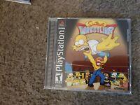 MINT CIB Black Label Playstation PS1  Simpson Wrestling Disc, case, instructions