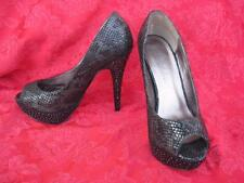 Mariah Carey Sexy Sparkle Studded Black Snakeskin Print Stiletto Heels 8,5 W