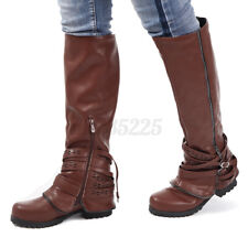 Women's Winter Knee High Boots Cowgirl Knight Combat Riding Shoes Buckle Zippe