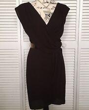 BOSTON PROPER Brown Gathered Shoulder Lined Wrap Short Dress With Bronze Belt, 6