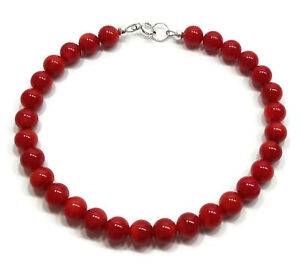 Red Coral Bracelet in Sterling Silver, 6mm Round Red Gemstone Beads, 7.5 Inch
