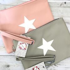 Zelly Star Cosmetic Purse Wrist Strap Bag Case Makeup Clutch Bags. Pink or grey.