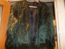 stunning Green Long Faux fur  short jacket   party size 8-10 bnwot Wedding,