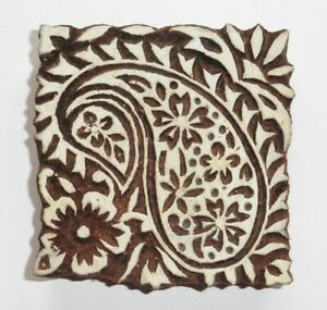 Floral Paisley Square 8cm Indian Hand Carved Wooden Printing Block Stamp