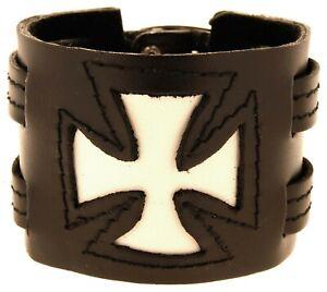 Armband Leder EK Eisernes Kreuz Lederarmband Schwarz Weiß Echtleder