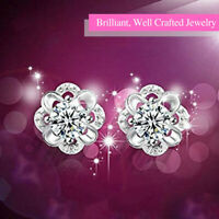 925 Sterling Silver Brilliant Crystalline Cubic Zirconia Flower Stud Earrings