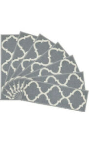 Stair Tread Ottohome Collection Imported Polypropylene Suitable Pack of 14Gray