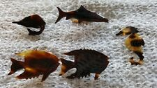 5 VINTAGE FAUX TORTOISE SHELL ETCHED PIN BROOCH SEA CREATURES