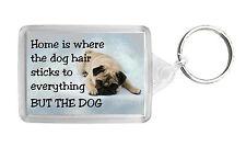 Pug Dog Keyring Keyfob Key Ring 'Home is Where' - NEW