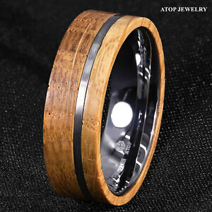 8mm Tungsten Ring With Whiskey Barrel Wood Brushed Stripe ATOP Men Wedding Ring