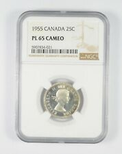 PL65 CAMEO 1955 Canada 25 Cents - Graded NGC *086
