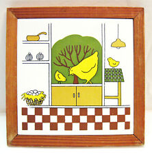 "Decorative 6"" Hanging Ceramic Tile Yellow Hen and Baby Chicks Pine Wood Frame"
