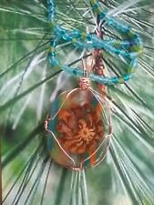 Pinecone and resin  Pendant wire wrapped in copper, handcrafted.