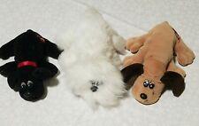 Lot of 3 Tonka Pound Puppies Newborn Small  white Black, Brown Vintage Stuffed
