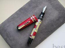 Marlen Forme Petite red-parchment-silver Medium 18ct gold nib fountain pen MIB