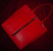 BCBG MAXAZRIA Womens Leather Studded Tote Bag Handbag Purse Red NWT MSRP $438.00