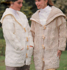 Aran Duffle Coat Knitting Pattern with Sailor Collar