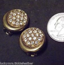 Rhinestone Pave Cluster & Goldtone Signed Allison Reed Clip Earrings, Round