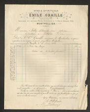 """MONTPELLIER (34) VINS """"DESVERNOIS ,GRAILLES & Edouard VILLA / GRAILLE Succ"""" 1880"""