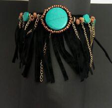 Black Suede Fringe Indian Cowgirl Style Turquoise beads Arm BRACELET J2-9/2