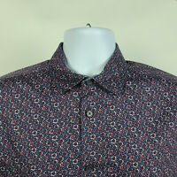 Ted Baker London Blue Red Floral Geometric Mens Dress Button Shirt Size 3