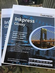 2 boxes of Inkpress Glossy 8 X 10 240 GSM  50 Sheet