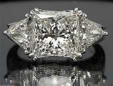 5.50 cts Princess Trillion Cut Diamond Engagement Ring Solid 14 kt White Gold