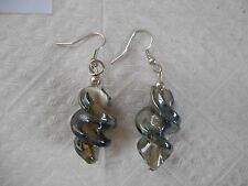 New listing Gray-white-multicolor twisted glass handmade earrings + stoppers