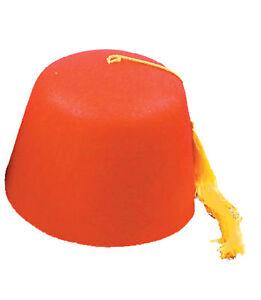 Fez Felt Red Hat With Yellow Cord Tassel One Size Halloween Rasta Imposta