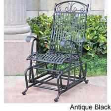 Vintage Style Black Iron Glider Chair Sturdy Outdoor Garden Rocker Rocking Seat